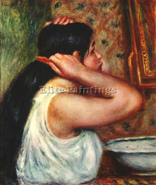 RENOIR WOMAN WITH HAIR COMBS ARTIST PAINTING REPRODUCTION HANDMADE CANVAS REPRO