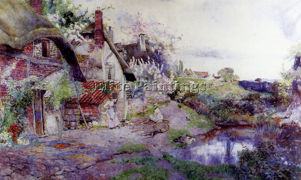 BELGIAN WOODLOCK DAVID ENGLISH IDYLL FIGURES OUTSIDE THACHED COTTAGE OIL CANVAS