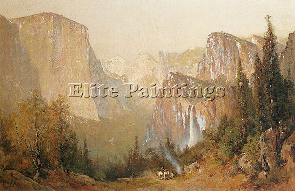 THOMAS HILL YOSEMITE VALLEY 1900 ARTIST PAINTING REPRODUCTION HANDMADE OIL REPRO