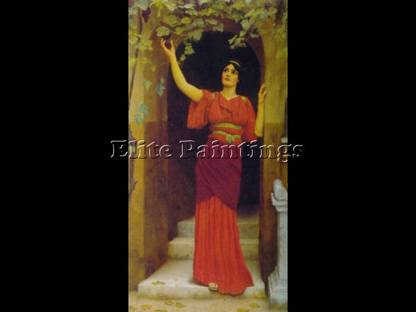 JOHN WILLIAM GODWARD YOUNG GIRL PICKING GRAPES 1902 ARTIST PAINTING REPRODUCTION