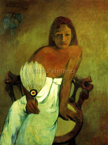 GAUGUIN YOUNG GIRL WITH FAN ARTIST PAINTING REPRODUCTION HANDMADE OIL CANVAS ART