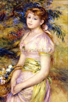 RENOIR YOUNG GIRL WITH A BASKET OF FLOWERS ARTIST PAINTING REPRODUCTION HANDMADE