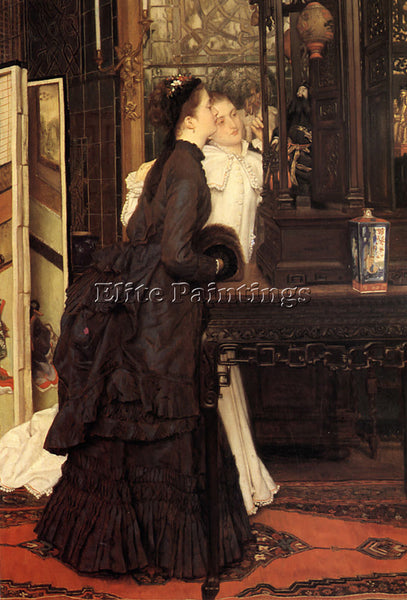 JAMES JACQUES-JOSEPH TISSOT YOUNG LADIES LOOKING AT JAPANESE OBJECTS OIL CANVAS