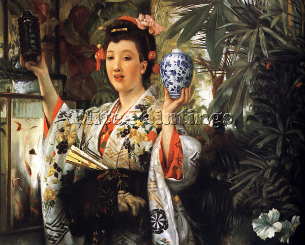 JAMES JACQUES-JOSEPH TISSOT YOUNG LADY HOLDING JAPANESE OBJECTS ARTIST PAINTING