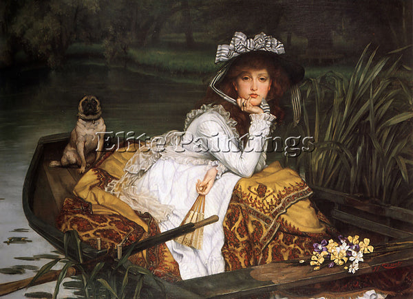 JAMES JACQUES-JOSEPH TISSOT YOUNG LADY IN A BOAT ARTIST PAINTING HANDMADE CANVAS
