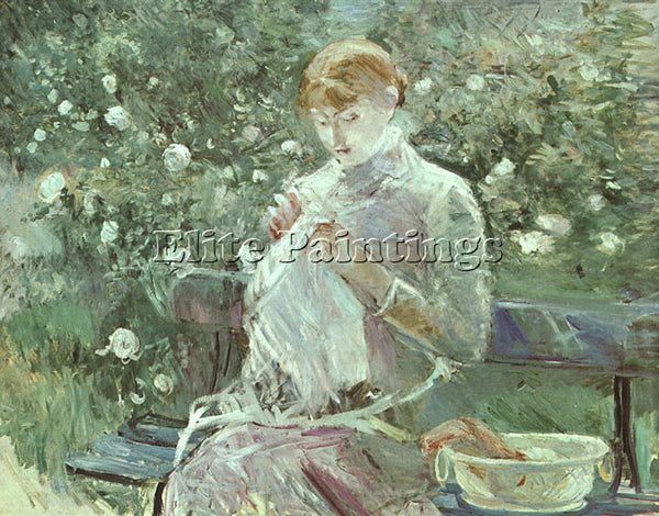 BERTHE MORISOT YOUNG WOMAN SEWING IN A GARDEN ARTIST PAINTING REPRODUCTION OIL
