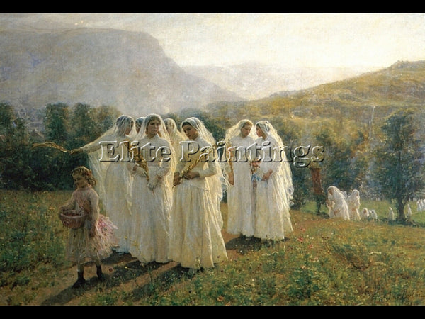 JULES BRETON YOUNG WOMEN GOING TO A PROCESSION ARTIST PAINTING REPRODUCTION OIL