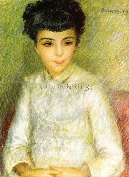RENOIR YOUNG GIRL WITH BROWN HAIR ARTIST PAINTING REPRODUCTION HANDMADE OIL DECO