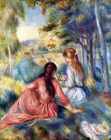RENOIR YOUNG GIRLS IN THE MEADOW ARTIST PAINTING REPRODUCTION HANDMADE OIL REPRO