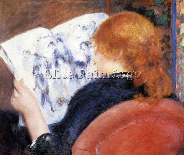 RENOIR YOUNG WOMAN READS ILLUSTRATED JOURNAL ARTIST PAINTING HANDMADE OIL CANVAS
