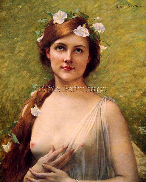 JULES JOSEPH LEFEBVRE YOUNG WOMAN WITH MORNING GLORIES IN HER HAIR REPRODUCTION