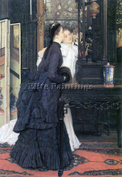 TISSOT YOUNG WOMEN WITH JAPANESE GOODS ARTIST PAINTING REPRODUCTION HANDMADE OIL