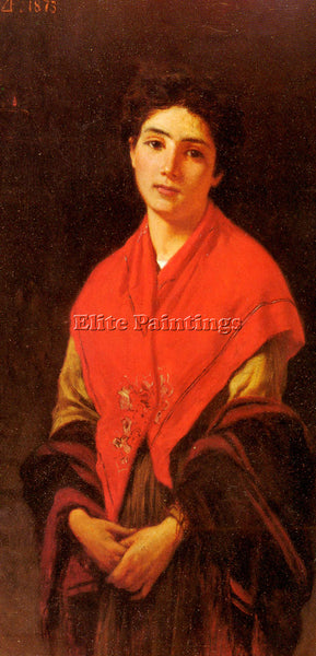ZANDOMENEGHI FEDERICODONNA IN ROSSA ARTIST PAINTING REPRODUCTION HANDMADE OIL