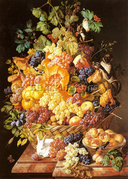 SWISS ZINNOGGER LEOPOLD A BASKET OF FRUIT WITH ANIMALS ARTIST PAINTING HANDMADE