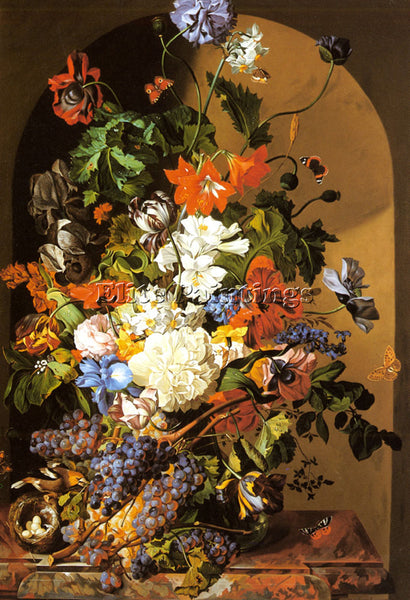 SWISS ZINNOGGER LEOPOLD A STILL LIFE WITH FLOWERS AND GRAPES ARTIST PAINTING OIL
