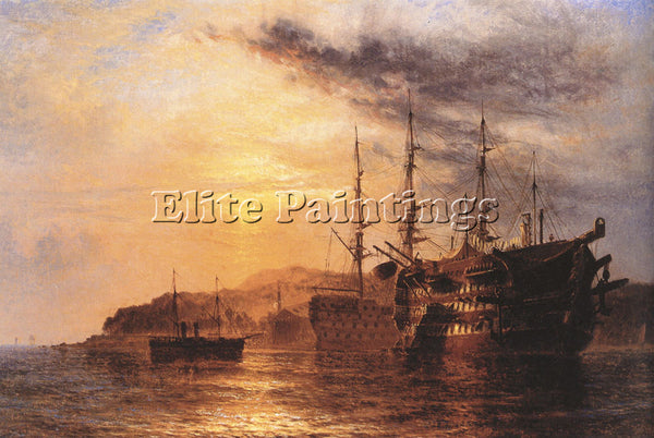 BRITISH A THREE DECK LAYING BY A HULK HENRY THOMAS DAWSON ARTIST PAINTING CANVAS