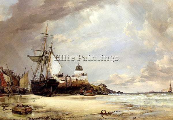 EDWARD WILLIAM COOKE THE PIER AND BAY OF ST IVES CORNWALL ARTIST PAINTING CANVAS