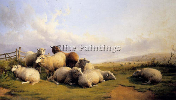 THOMAS SIDNEY COOPER SHEEP IN AN EXTENSIVE LANDSCAPE ARTIST PAINTING HANDMADE