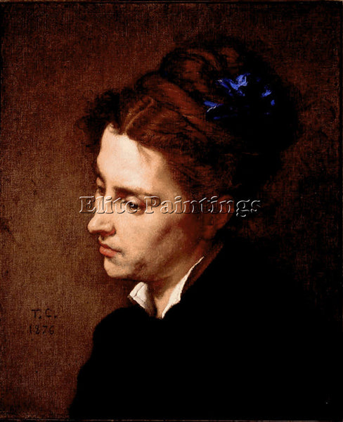 THOMAS COUTURE HEAD OF WOMAN ARTIST PAINTING REPRODUCTION HANDMADE CANVAS REPRO