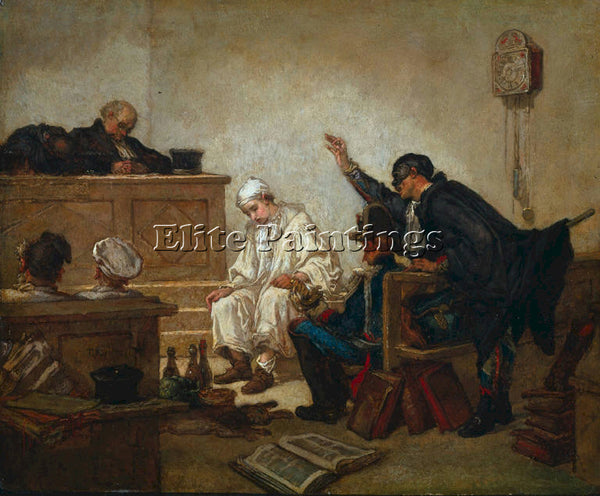 THOMAS COUTURE PIERROT ON TRIAL ARTIST PAINTING REPRODUCTION HANDMADE OIL CANVAS