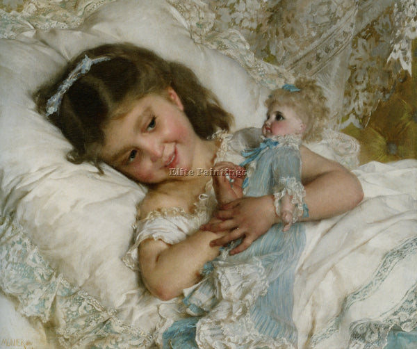 EMILE MUNIER GIRL AND DOLL ARTIST PAINTING REPRODUCTION HANDMADE OIL CANVAS DECO