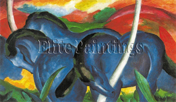 FAMOUS PAINTINGS BIG BLUE HORSES HI ARTIST PAINTING REPRODUCTION HANDMADE OIL