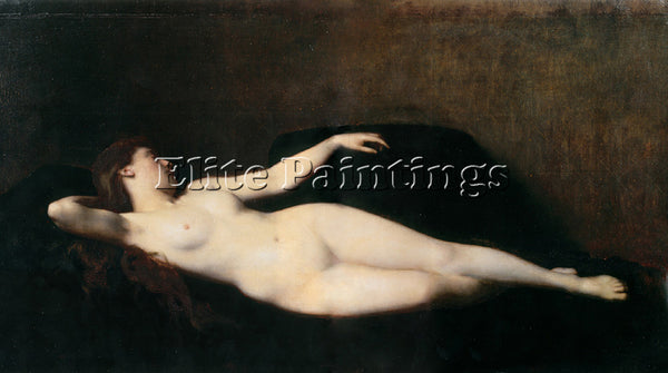 JEAN-JACQUES HENNER  DONNA SUL DIVANO NERO ARTIST PAINTING REPRODUCTION HANDMADE