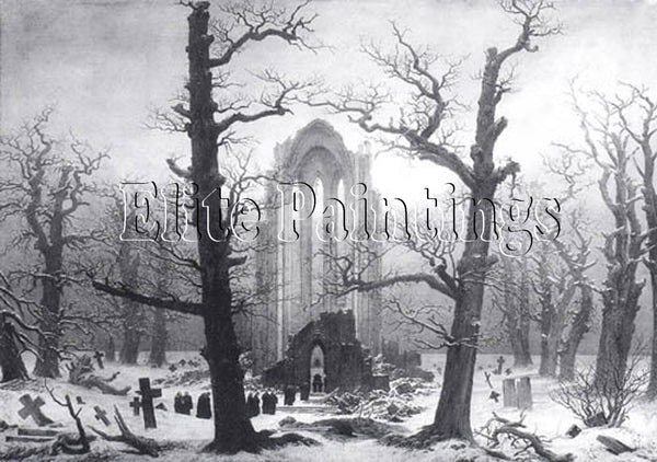 FAMOUS PAINTINGS MONASTERY CEMETERY IN THE SNOW HI ARTIST PAINTING REPRODUCTION