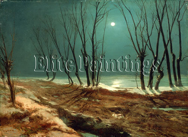 FAMOUS PAINTINGS LANDSCAPE IN WINTER MOON HI ARTIST PAINTING HANDMADE OIL CANVAS