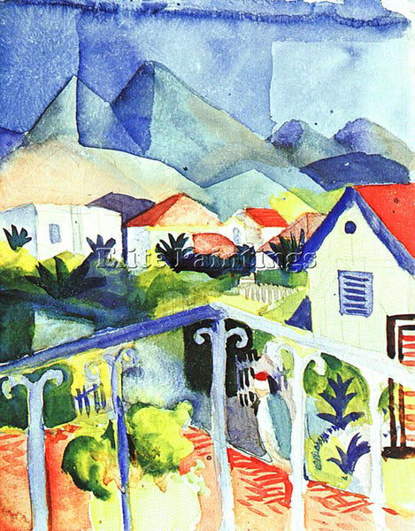 AUGUST MACKE MACKE44 ARTIST PAINTING REPRODUCTION HANDMADE OIL CANVAS REPRO WALL