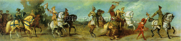 HANS MAKART JUBILEE TRAIN 3 FALCONRY ARTIST PAINTING REPRODUCTION HANDMADE OIL
