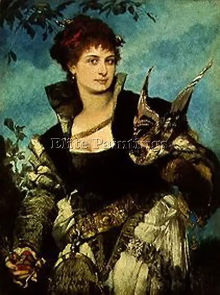 HANS MAKART THE FALCONER ARTIST PAINTING REPRODUCTION HANDMADE CANVAS REPRO WALL