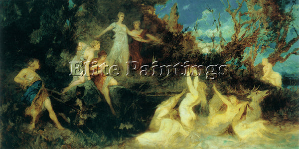 HANS MAKART THE HUNT OF THE DIANA ARTIST PAINTING REPRODUCTION HANDMADE OIL DECO
