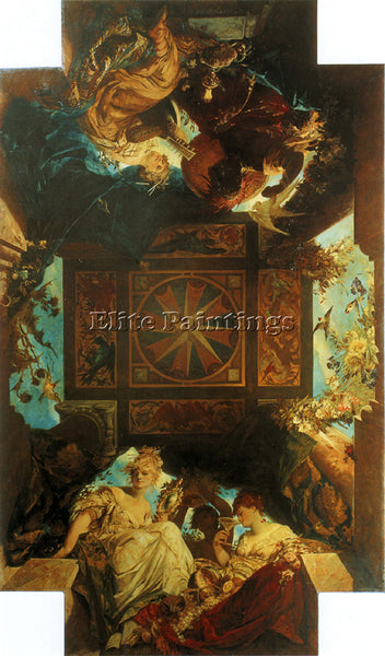 HANS MAKART THE FOUR PARTS OF THE WORLD ARTIST PAINTING REPRODUCTION HANDMADE