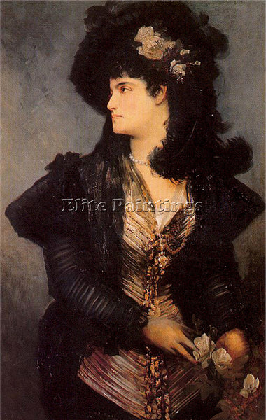 HANS MAKART PORTRAIT OF A LADY ARTIST PAINTING REPRODUCTION HANDMADE OIL CANVAS