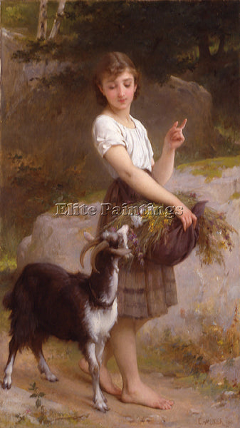 EMILE MUNIER 1890 04 YOUNG GIRL WITH GOAT AND FLOWERS ARTIST PAINTING HANDMADE