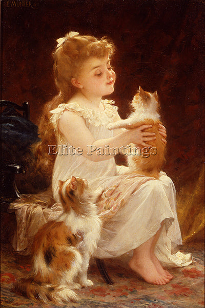 EMILE MUNIER 1893 01 PLAYING WITH THE KITTEN ARTIST PAINTING HANDMADE OIL CANVAS