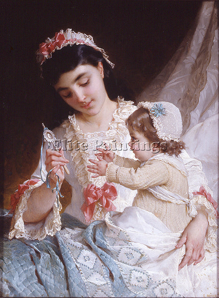 EMILE MUNIER ND 10 DISTRACTING THE BABY ARTIST PAINTING REPRODUCTION HANDMADE