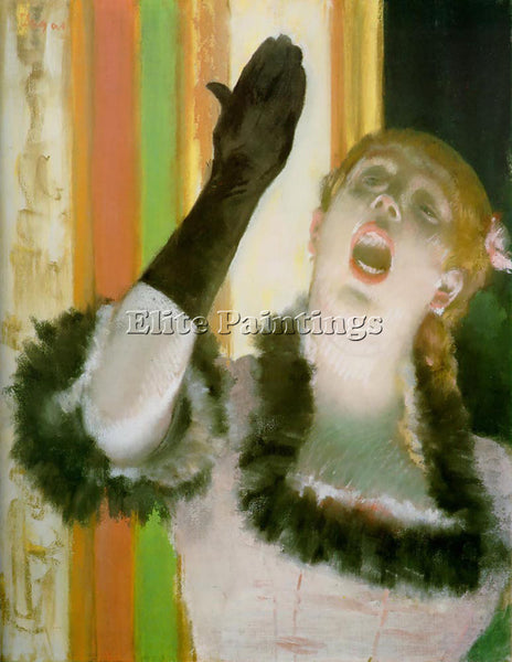 EDGAR DEGAS SINGER WITH GLOVE ARTIST PAINTING REPRODUCTION HANDMADE CANVAS REPRO