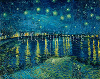 FAMOUS PAINTINGS STARRY NIGHT RHONE ARTIST PAINTING REPRODUCTION HANDMADE OIL