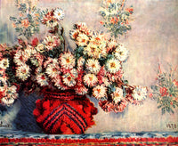 MONET STILL LIFE CHRYSANTHEMUMS ARTIST PAINTING REPRODUCTION HANDMADE OIL CANVAS