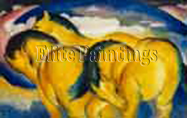 FAMOUS PAINTINGS THM LITTLE YELLOW HORSES ARTIST PAINTING REPRODUCTION HANDMADE