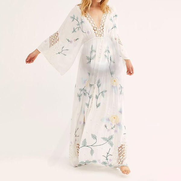 Maternity Sweet Deep V Floral Print Openwork Flare Sleeve Dress