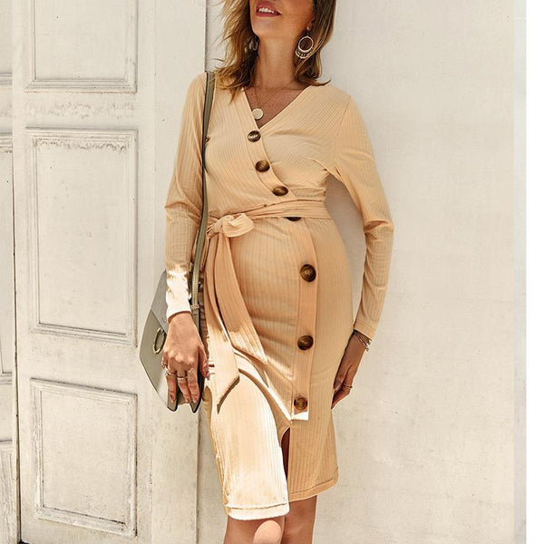 Maternity V Neck Long Sleeve Pure Color Dress