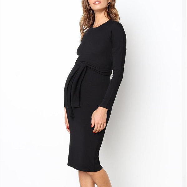Maternity Casual Pure Color Long Sleeve Belted Dress