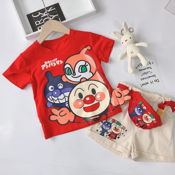 Baby Cartoon Superman Short Sleeve T Shirt Shorts Three Sets