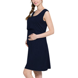 Pregnant Women Dress Fashion Solid Color Stitching  Round Neck Sleeveless Nursing Dress