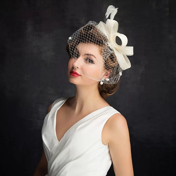 Bride Net Yarn Bow Tiara Hat  Party Net Yarn Hat Headpiece