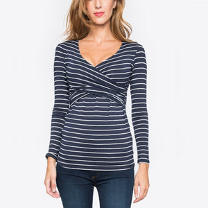 Pregnant women striped long sleeve nursing clothes jacket T shirt