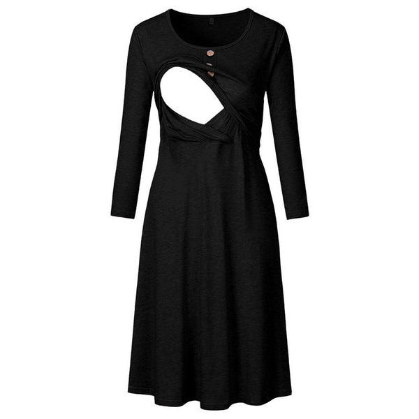 New Round Neck Long Sleeve Maternity Dress Button Dress
